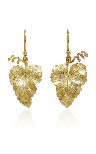 Medium annette ferdinandsen gold hanging grape leaf earrings with diamonds