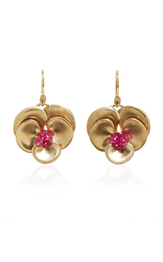 Medium annette ferdinandsen gold pansy earrings with rubies