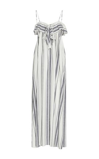 Medium three graces london stripe miranda striped linen and cotton blend maxi dress