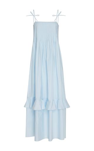 Medium three graces london blue nedda pleated cotton maxi dress