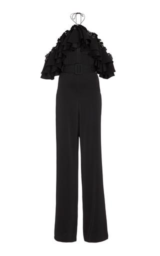 Medium emilio pucci black ruffled chiffon trimmed crepe jumpsuit