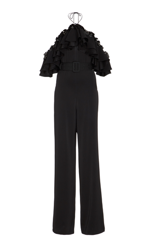 Medium emilio pucci black ruffled chiffon trimmed crepe jumpsuit