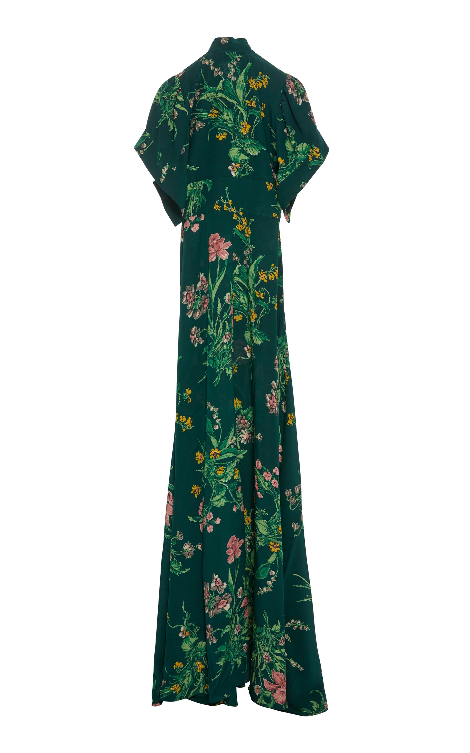 Floral-Print Silk DressRochas Réelle Prise Images Footlocker Sortie Ligne D'arrivée 31YqRAVbWn