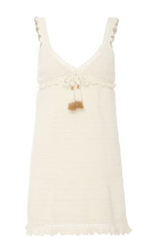 Medium she made me white crochet knit mini dress