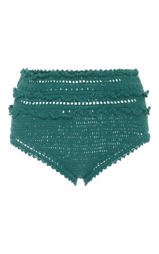Medium she made me blue high rise crocheted bikini bottoms