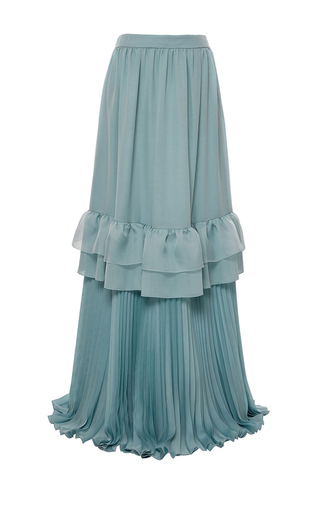 Medium genny green ruffled maxi skirt