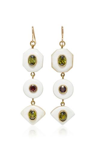 Medium ashley pittman white gold tone horn zircon and garnet earrings
