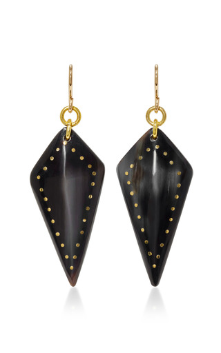 Medium ashley pittman black radi horn and bronze earrings