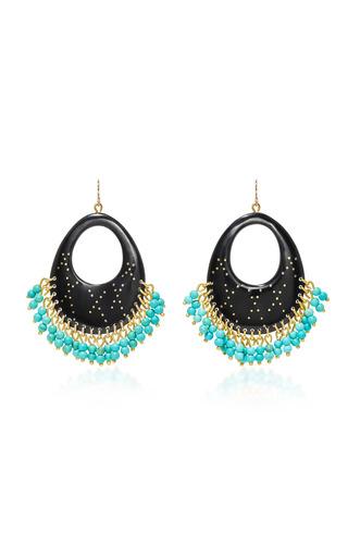 Medium ashley pittman black vuka horn bronze and turquoise earrings