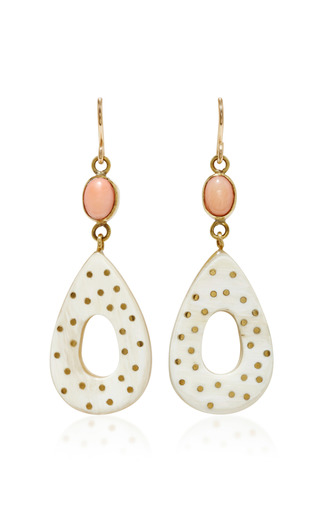 Medium ashley pittman white bendi horn bronze and coral earrings