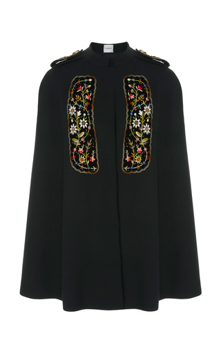 Medium vilshenko black embroidered velvet paneled crepe de chine cape
