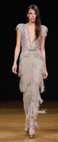 Medium ziad nakad nude specialorder look 8 couture short sleeve embroidered chiffon gown ms