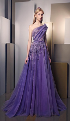 Medium ziad nakad purple specialorder look 5 couture one shoulder embroidered purple organza gown ms