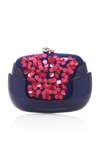 Medium delpozo blue bloom floral appliqued clutch