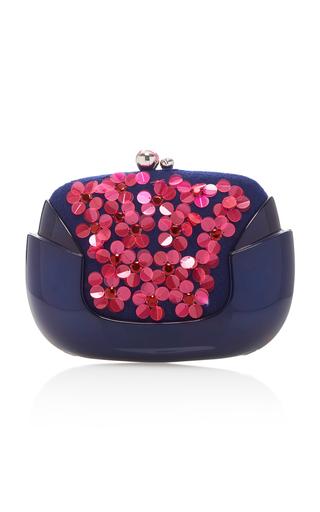 Medium delpozo blue bloom floral appliqued clutch