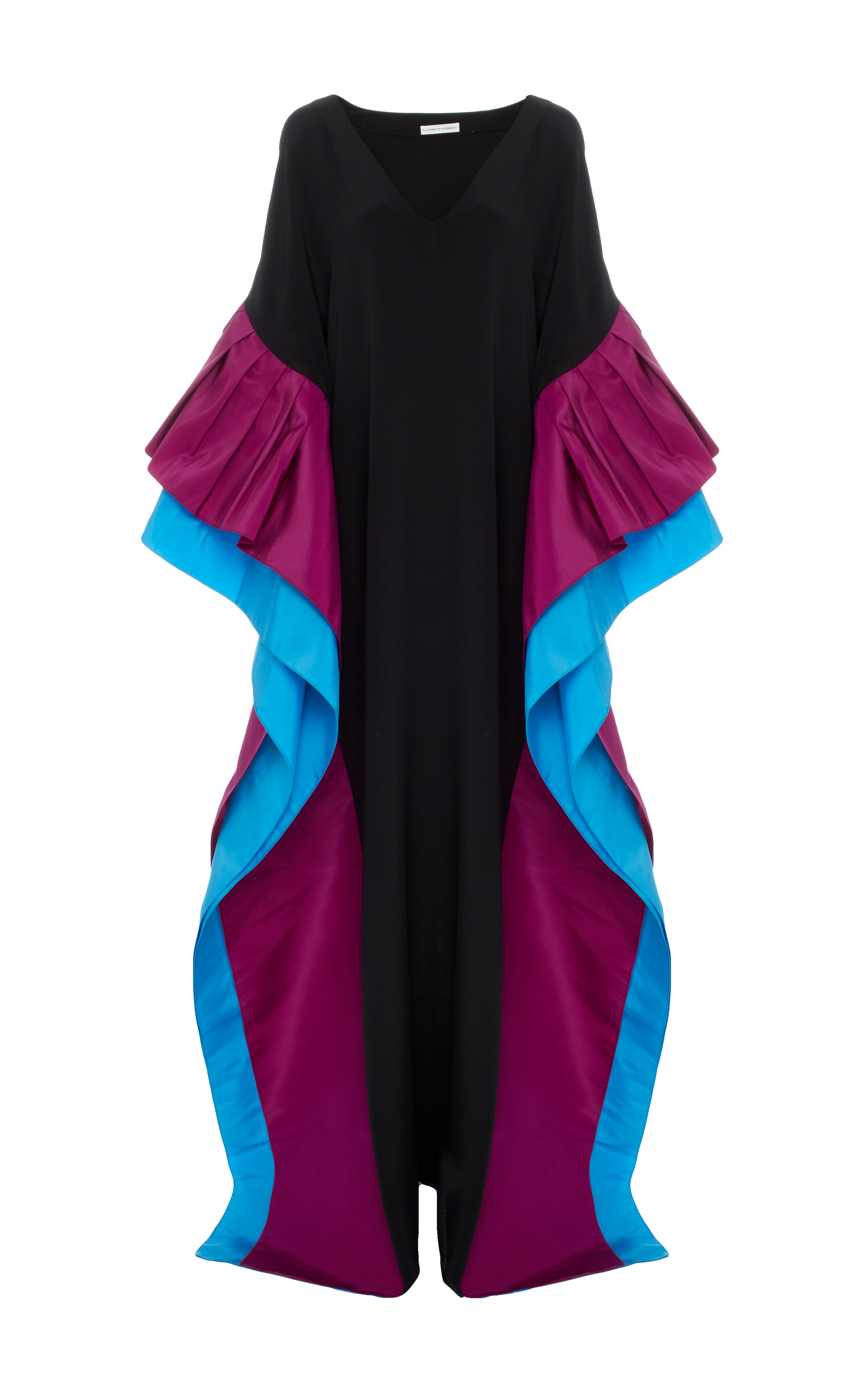 ELIZABETH KENNEDY M'O EXCLUSIVE V-NECK CAFTAN WITH PLEATS