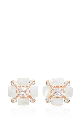 Medium alasia white medicea mother of pearl and topaz earrings