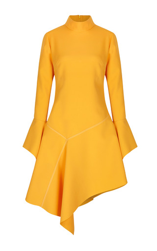 Medium paper london yellow rufus flared crepe dress