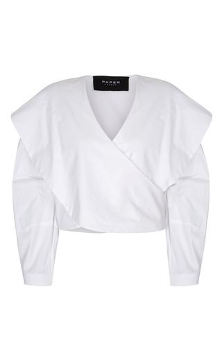 Medium paper london white elle wrap shirt