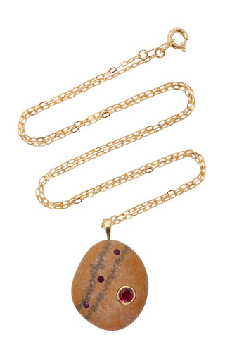 Medium cvc stones brown ma gazelle necklace
