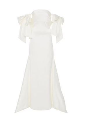 Medium sachin babi ivory off the shoulder bow gown 2