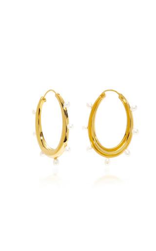 Medium theodora warre gold gold plated pearl hoop earrings