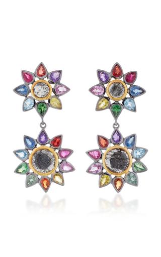 Medium she bee multi rhodium plated rainbow sapphire and quartz drop earrings