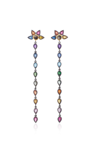 Medium she bee multi rhodium plated rainbow topaz drop earrings