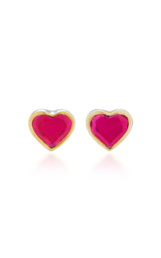 Medium she bee pink 14k gold topaz heart earrings