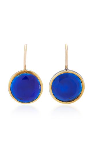 Medium she bee blue 14k gold topaz earrings