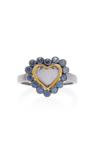 Medium she bee blue rhodium plated topaz and sapphire heart ring 2
