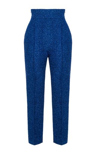 Medium rasario blue straight leg lurex trousers