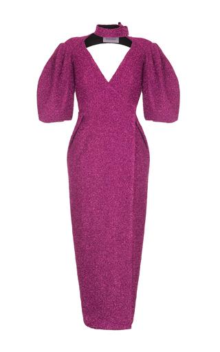 Medium rasario pink puff sleeve lurex dress