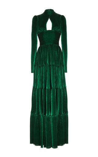 Medium rasario green long sleeve cut out front velvet gown