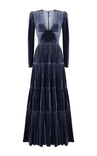 Medium rasario blue long sleeve v neck gown 2