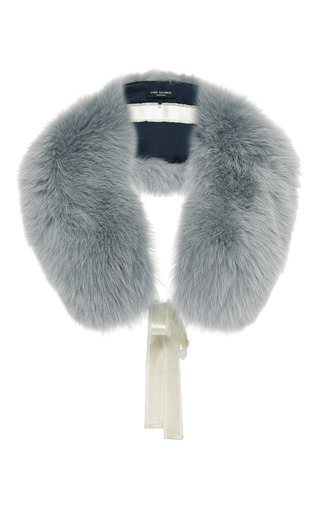 Medium yves salomon paris grey fox fur collar 3