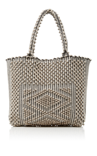 Medium antonello black white boucle tote