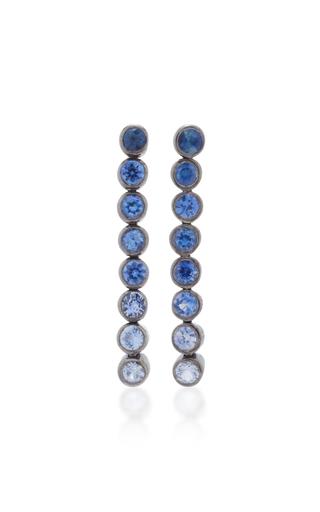 Medium she bee blue rhodium plated blue sapphire drop earrings