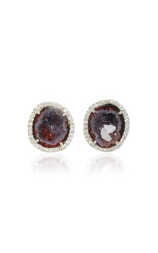 Medium kimberly mcdonald purple purple geode and diamond stud earrings