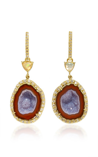 Medium kimberly mcdonald purple geode water opal and diamond push back earrings