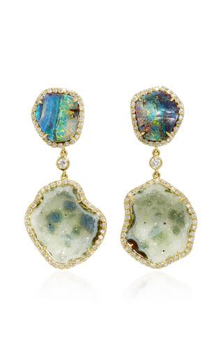 Medium kimberly mcdonald green light geode and boulder opal double drop earrings
