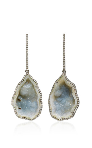 Medium kimberly mcdonald grey large blue green geode drop earrings