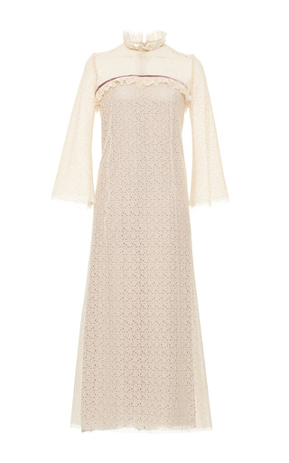 Medium luisa beccaria neutral floral lace midi dress