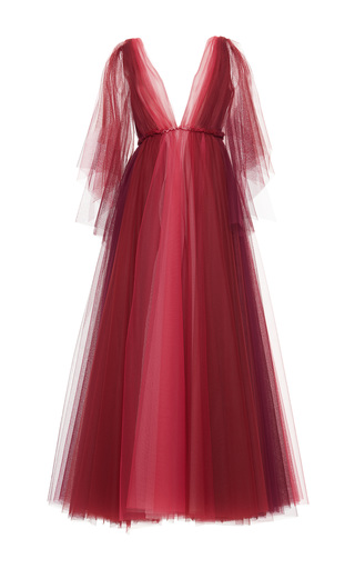 Medium luisa beccaria multi tulle bicolor v neck gown