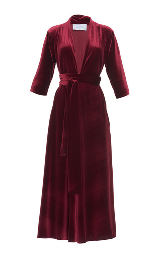 Medium luisa beccaria red velvet three quarter sleeve midi dress