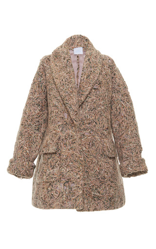 Medium luisa beccaria multi textured mohair coat