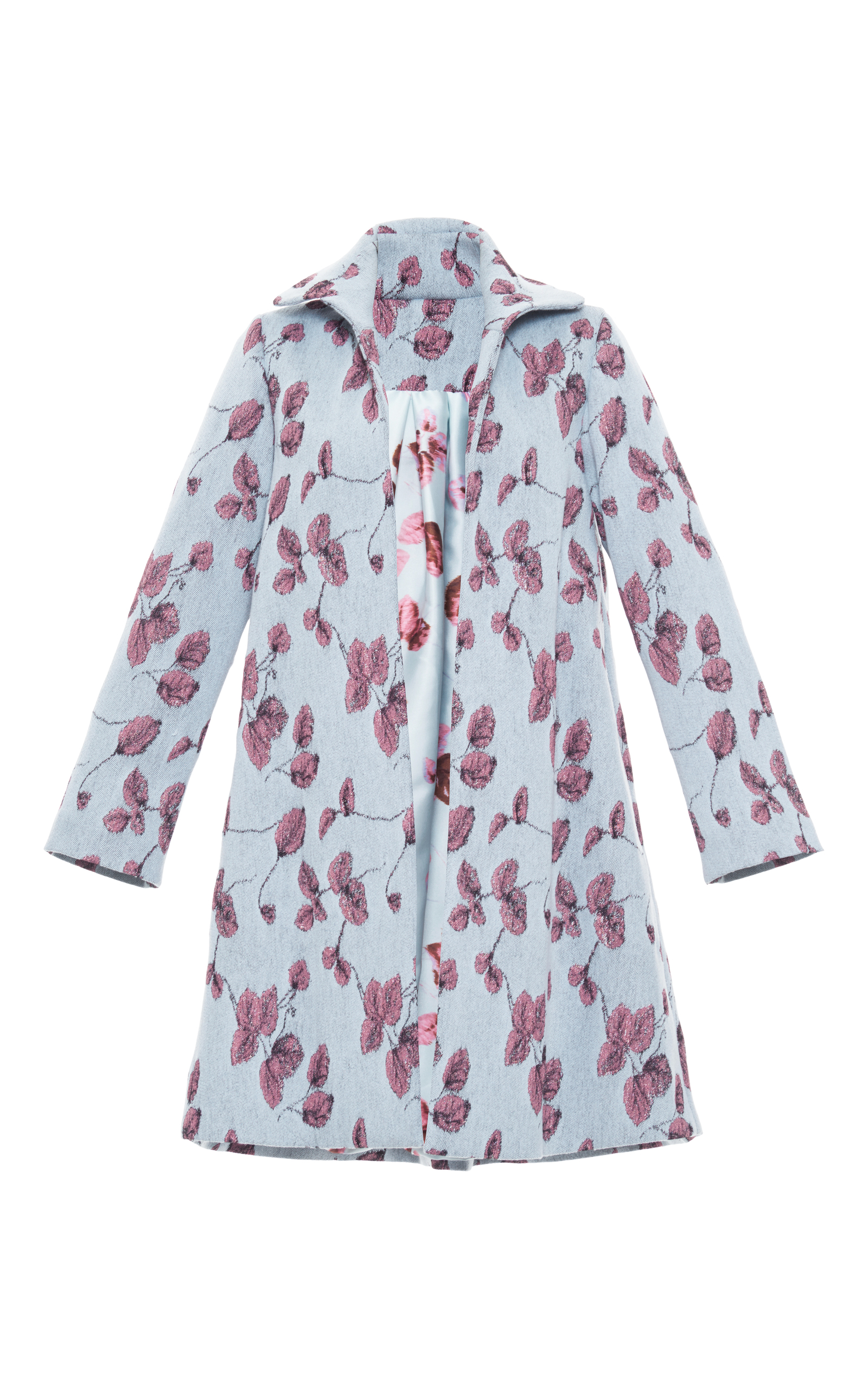Mohair floral embroidered coat by luisa beccaria moda