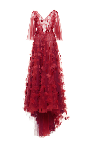 Medium luisa beccaria red tulle embroidered gown