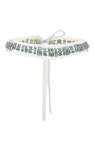 Medium luisa beccaria blue embellished belt