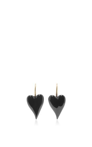 Medium tomas maier black heart earrings